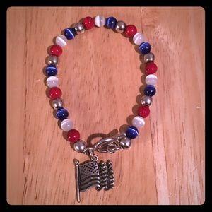 Jewelry - Sterling Patriotic Cat Eye Bracelet
